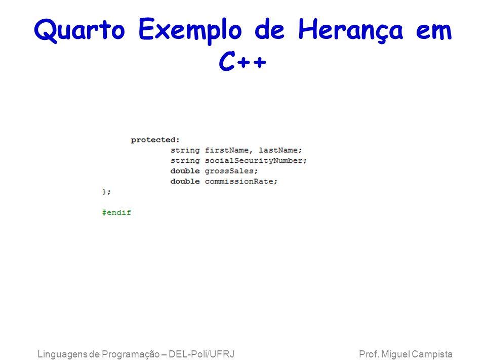 Quarto Exemplo de Herança em C++ Linguagens de Programação – DEL-Poli/UFRJ Prof. Miguel Campista