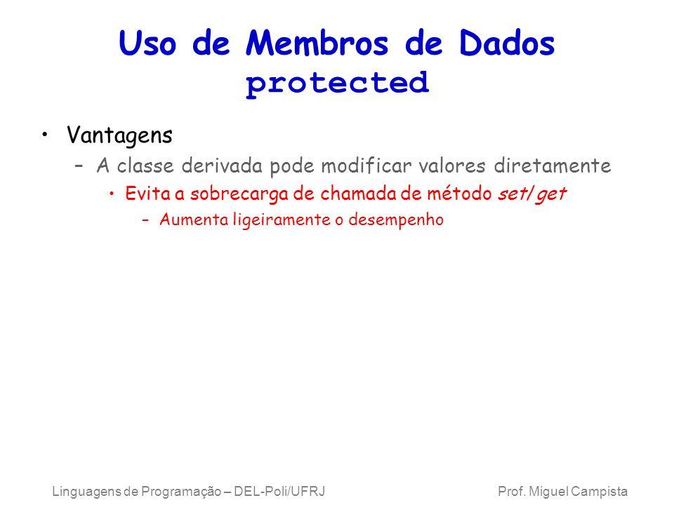Uso de Membros de Dados protected Vantagens –A classe derivada pode modificar valores diretamente Evita a sobrecarga de chamada de método set/get –Aum