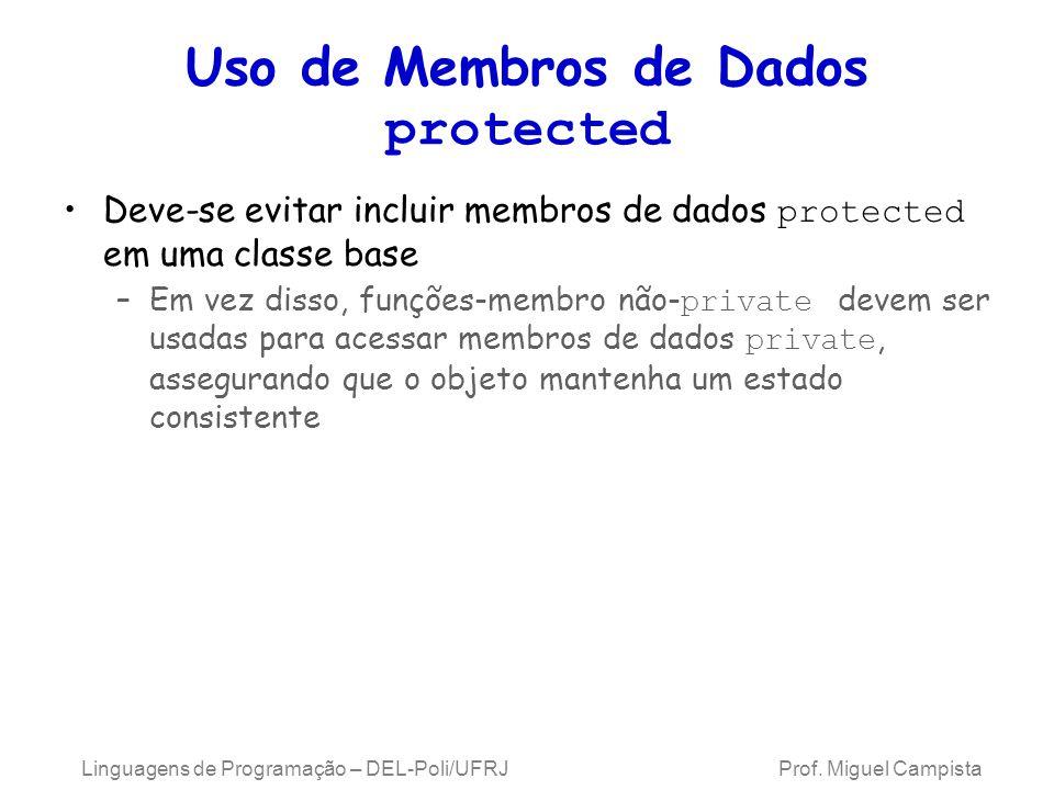 Uso de Membros de Dados protected Deve-se evitar incluir membros de dados protected em uma classe base –Em vez disso, funções-membro não- private deve