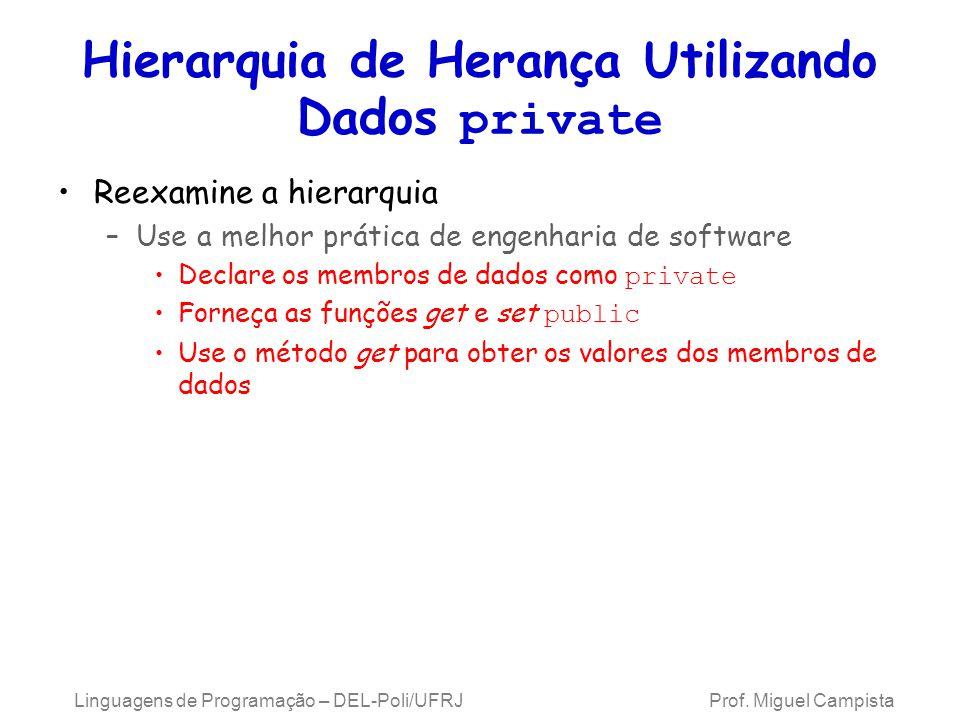 Hierarquia de Herança Utilizando Dados private Reexamine a hierarquia –Use a melhor prática de engenharia de software Declare os membros de dados como