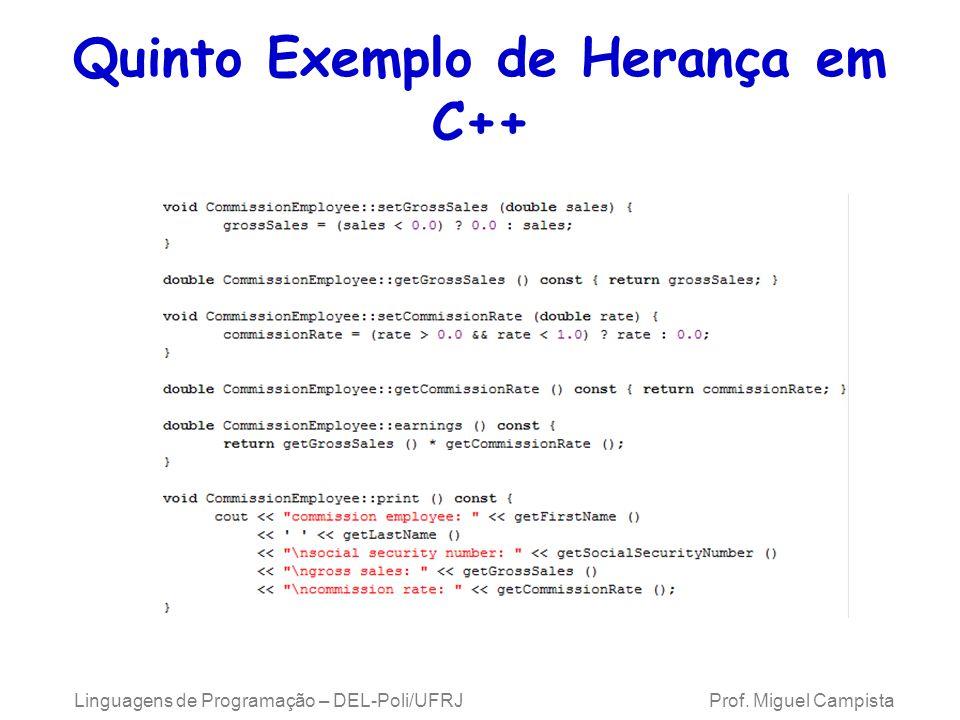 Quinto Exemplo de Herança em C++ Linguagens de Programação – DEL-Poli/UFRJ Prof. Miguel Campista