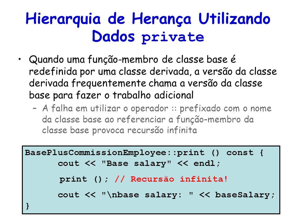 Hierarquia de Herança Utilizando Dados private Quando uma função-membro de classe base é redefinida por uma classe derivada, a versão da classe deriva