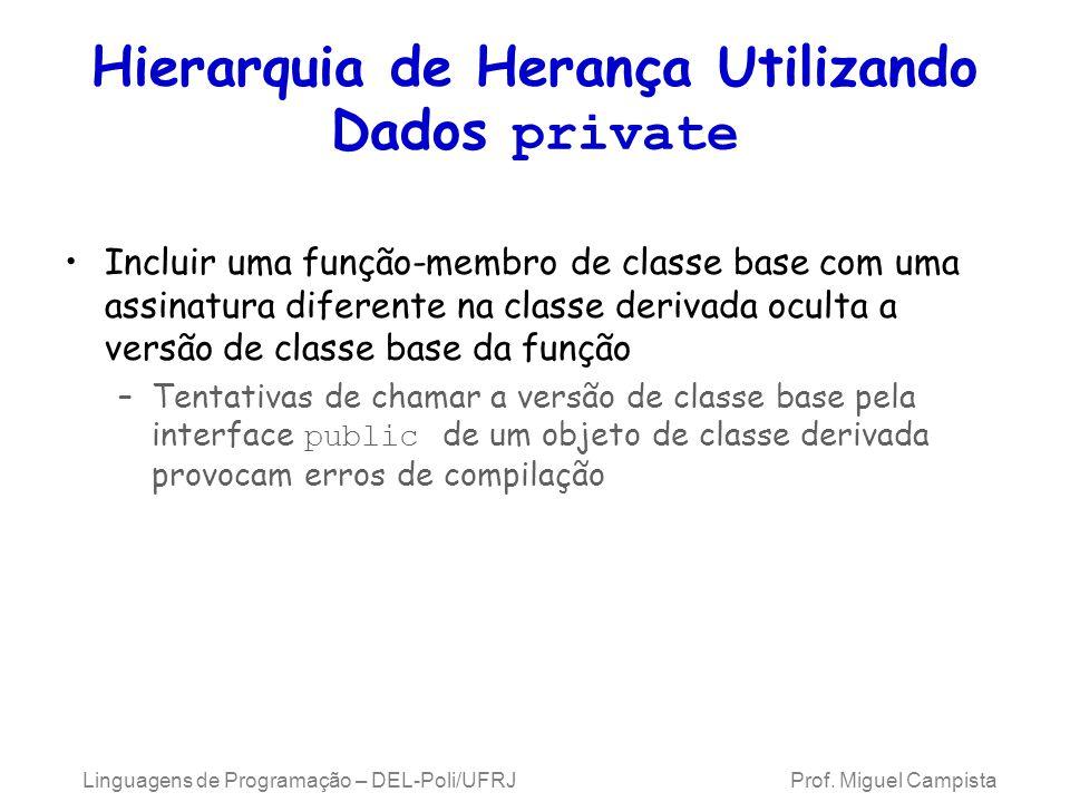 Hierarquia de Herança Utilizando Dados private Incluir uma função-membro de classe base com uma assinatura diferente na classe derivada oculta a versã