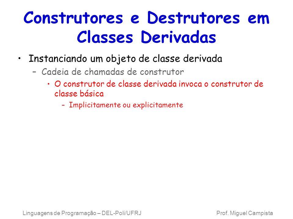 Construtores e Destrutores em Classes Derivadas Instanciando um objeto de classe derivada –Cadeia de chamadas de construtor O construtor de classe der