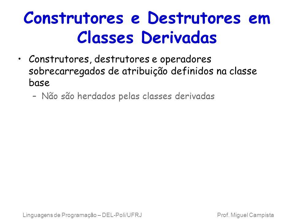 Construtores e Destrutores em Classes Derivadas Construtores, destrutores e operadores sobrecarregados de atribuição definidos na classe base –Não são