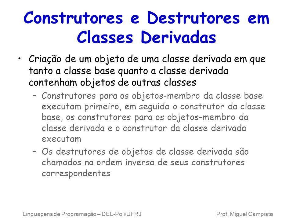 Construtores e Destrutores em Classes Derivadas Criação de um objeto de uma classe derivada em que tanto a classe base quanto a classe derivada conten