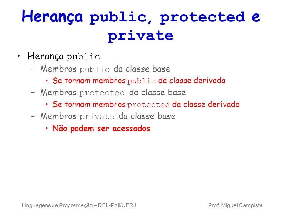 Herança public, protected e private Herança public –Membros public da classe base Se tornam membros public da classe derivada –Membros protected da cl
