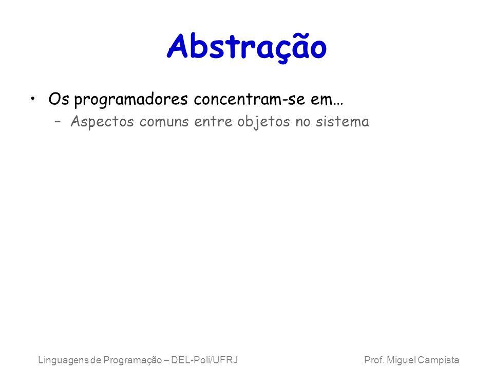 Abstração Os programadores concentram-se em… –Aspectos comuns entre objetos no sistema Linguagens de Programação – DEL-Poli/UFRJ Prof. Miguel Campista