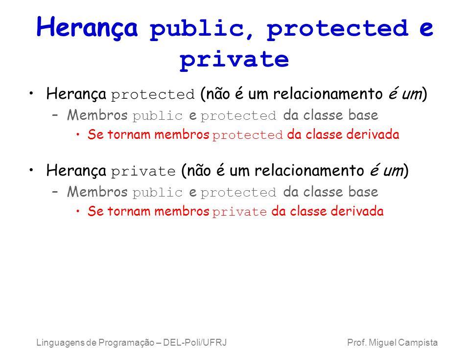 Herança public, protected e private Herança protected (não é um relacionamento é um) –Membros public e protected da classe base Se tornam membros prot