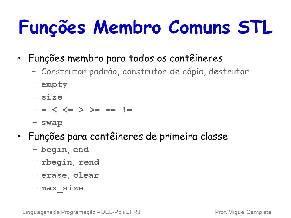 Funções Membro Comuns STL Funções membro para todos os contêineres –Construtor padrão, construtor de cópia, destrutor –empty –size –= >= == != –swap Funções para contêineres de primeira classe –begin, end –rbegin, rend –erase, clear –max_size Linguagens de Programação – DEL-Poli/UFRJ Prof.