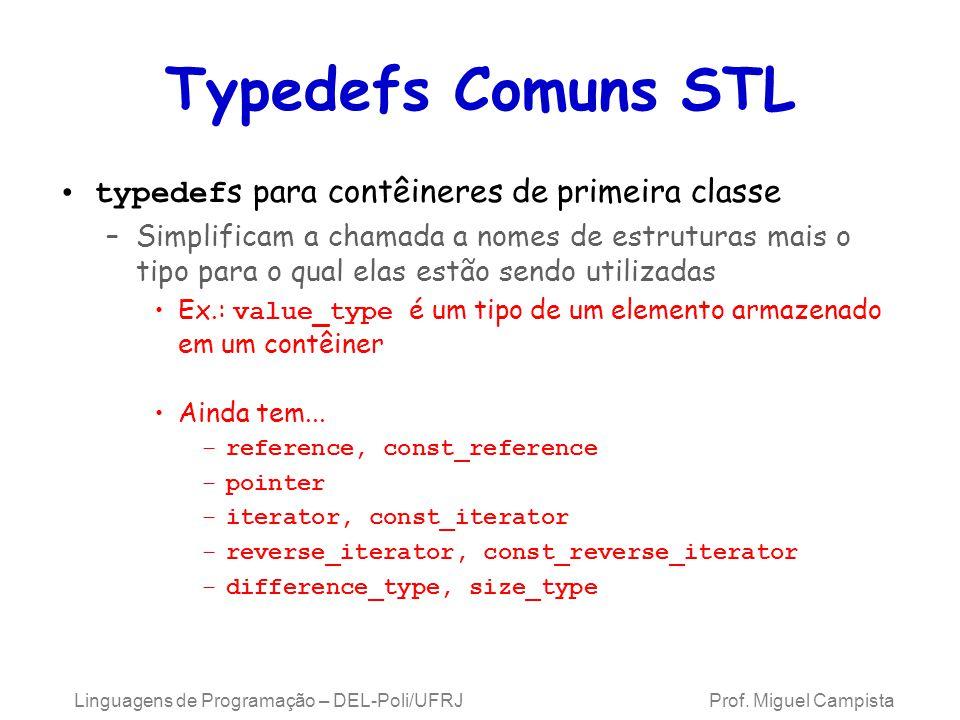 Typedefs Comuns STL typedef s para contêineres de primeira classe –Simplificam a chamada a nomes de estruturas mais o tipo para o qual elas estão sendo utilizadas Ex.: value_type é um tipo de um elemento armazenado em um contêiner Ainda tem...