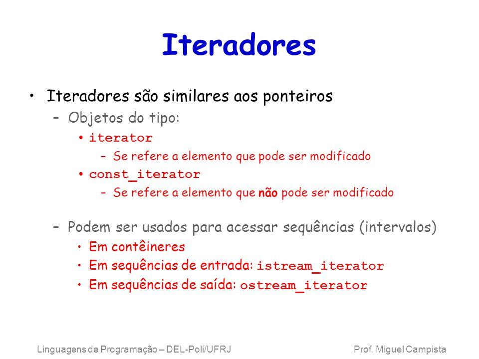 Iteradores Iteradores são similares aos ponteiros –Objetos do tipo: iterator –Se refere a elemento que pode ser modificado const_iterator –Se refere a elemento que não pode ser modificado –Podem ser usados para acessar sequências (intervalos) Em contêineres Em sequências de entrada: istream_iterator Em sequências de saída: ostream_iterator Linguagens de Programação – DEL-Poli/UFRJ Prof.