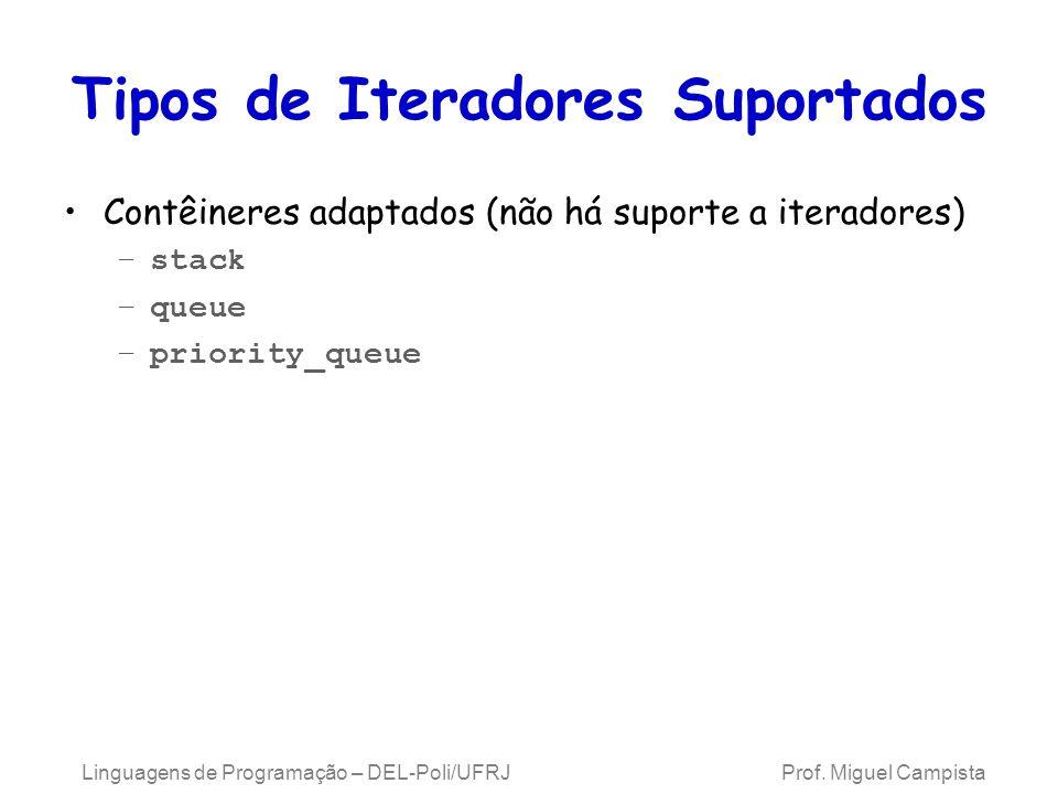 Tipos de Iteradores Suportados Contêineres adaptados (não há suporte a iteradores) –stack –queue –priority_queue Linguagens de Programação – DEL-Poli/UFRJ Prof.