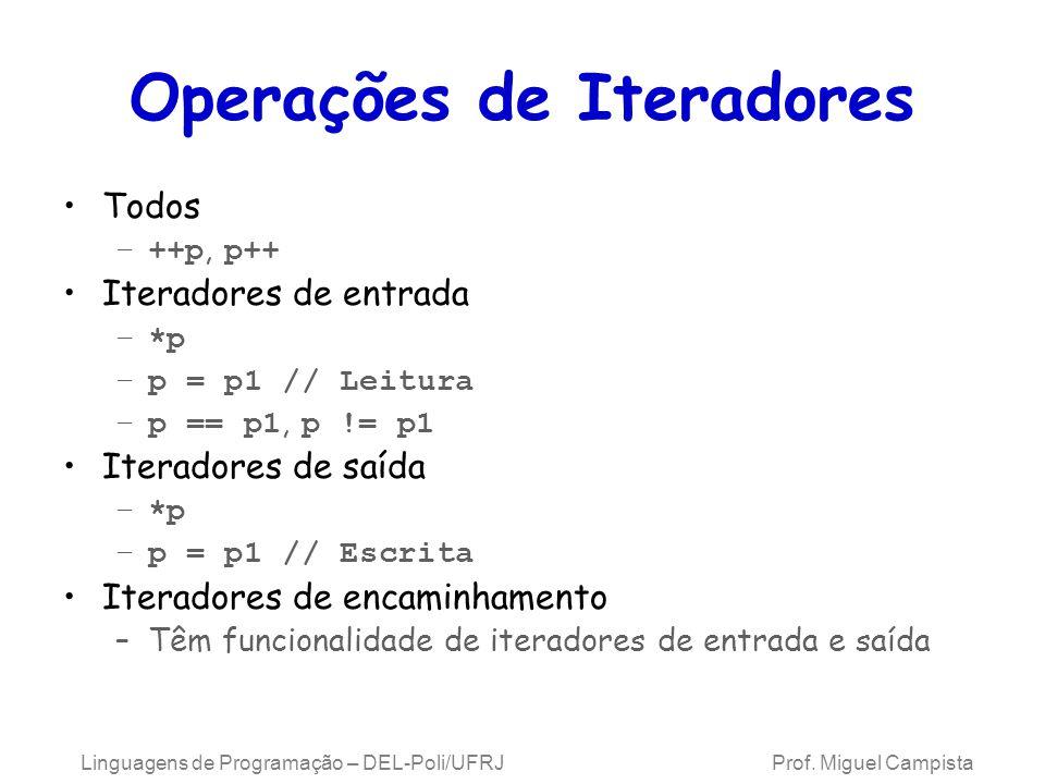 Operações de Iteradores Todos –++p, p++ Iteradores de entrada –*p –p = p1 // Leitura –p == p1, p != p1 Iteradores de saída –*p –p = p1 // Escrita Iteradores de encaminhamento –Têm funcionalidade de iteradores de entrada e saída Linguagens de Programação – DEL-Poli/UFRJ Prof.