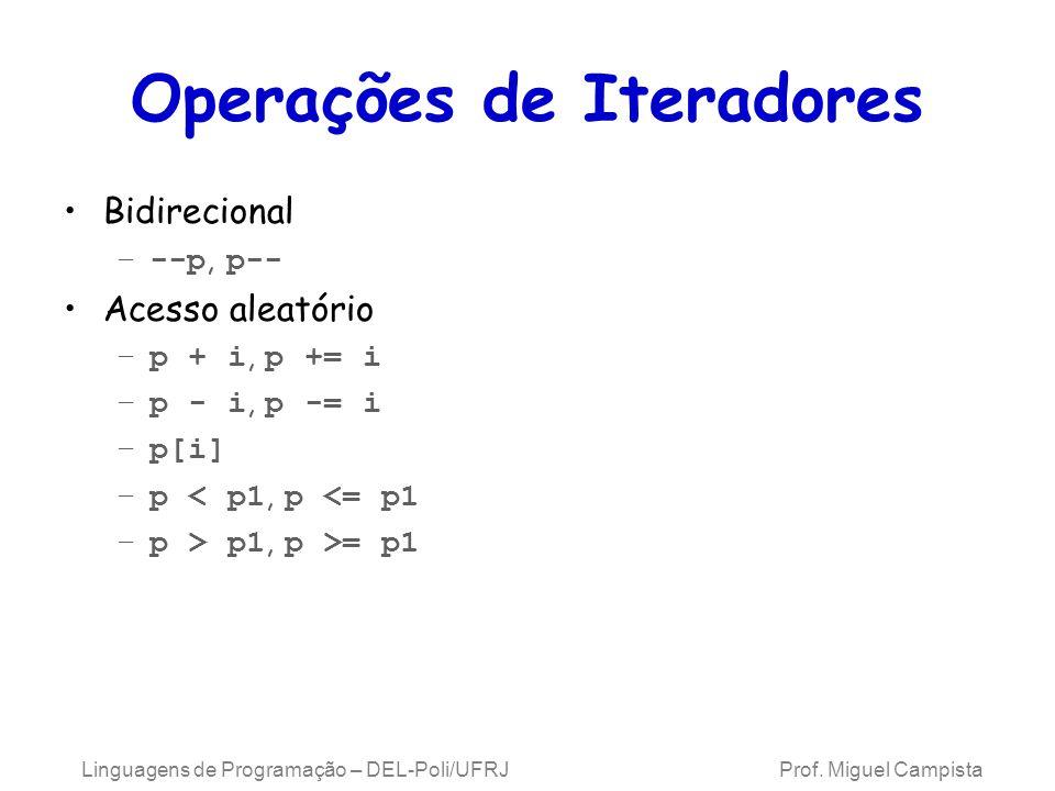 Operações de Iteradores Bidirecional –--p, p-- Acesso aleatório –p + i, p += i –p - i, p -= i –p[i] –p < p1, p <= p1 –p > p1, p >= p1 Linguagens de Programação – DEL-Poli/UFRJ Prof.