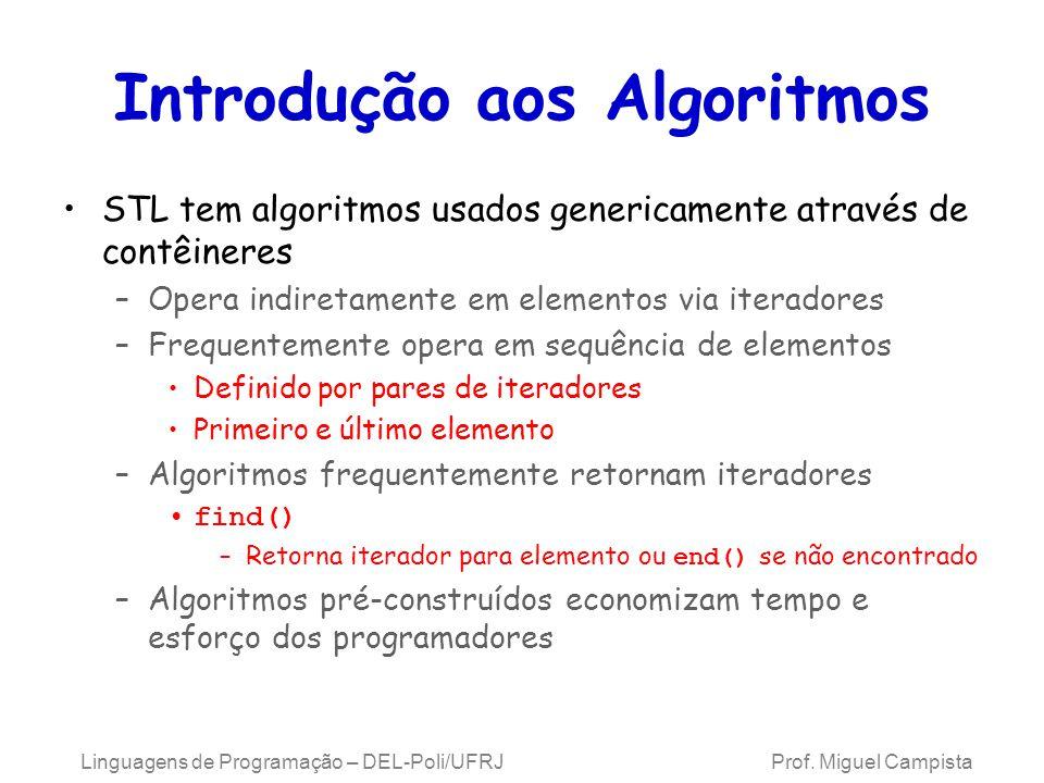 Introdução aos Algoritmos STL tem algoritmos usados genericamente através de contêineres –Opera indiretamente em elementos via iteradores –Frequentemente opera em sequência de elementos Definido por pares de iteradores Primeiro e último elemento –Algoritmos frequentemente retornam iteradores find() –Retorna iterador para elemento ou end() se não encontrado –Algoritmos pré-construídos economizam tempo e esforço dos programadores Linguagens de Programação – DEL-Poli/UFRJ Prof.