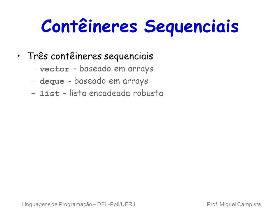 Contêineres Sequenciais Três contêineres sequenciais –vector - baseado em arrays –deque - baseado em arrays –list – lista encadeada robusta Linguagens de Programação – DEL-Poli/UFRJ Prof.
