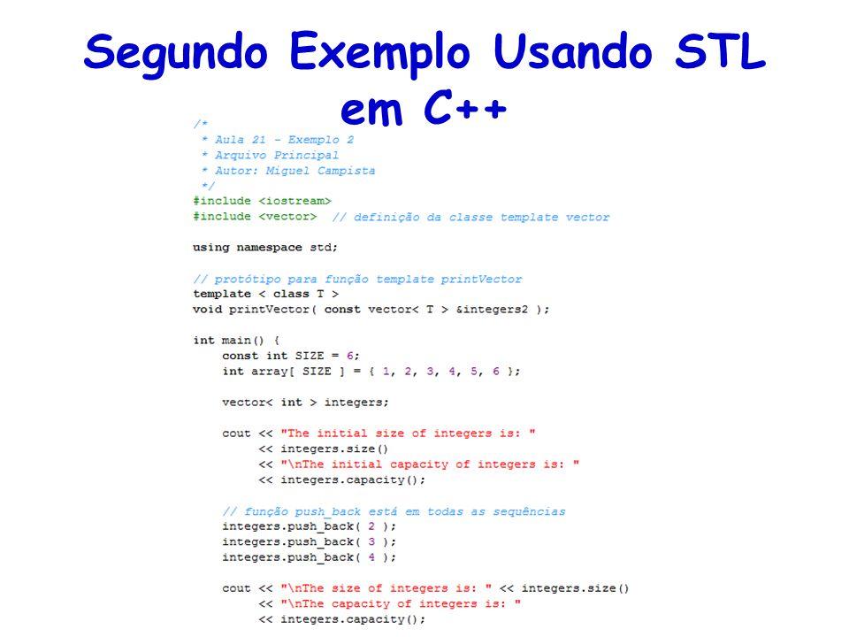 Segundo Exemplo Usando STL em C++
