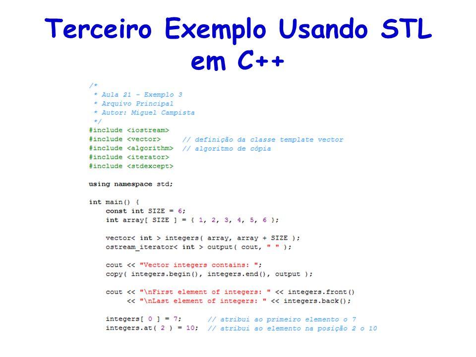 Terceiro Exemplo Usando STL em C++