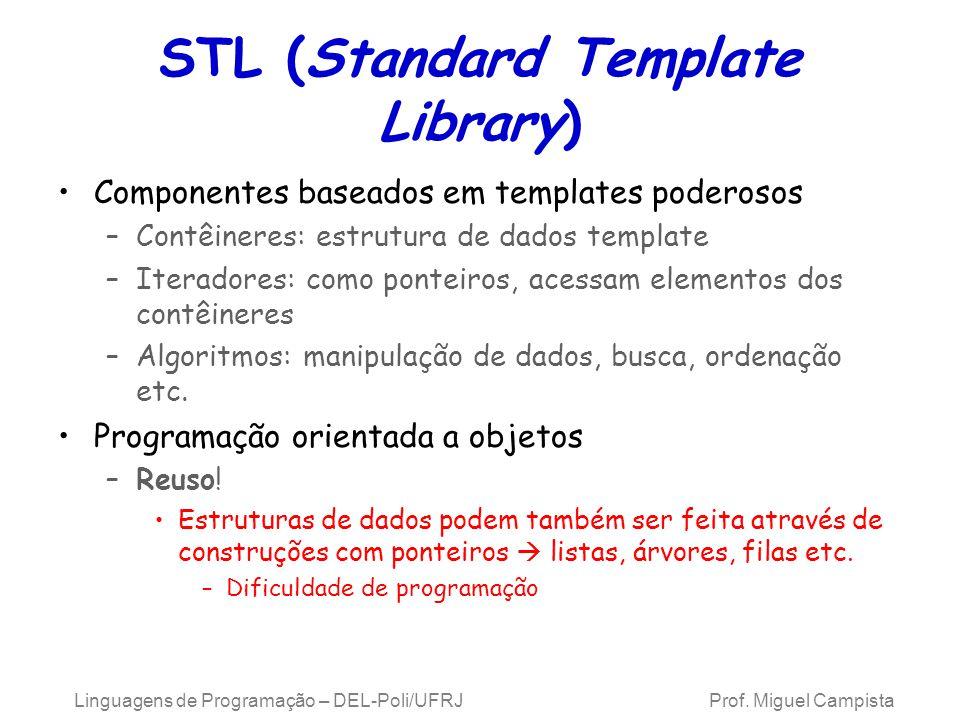 STL (Standard Template Library) Componentes baseados em templates poderosos –Contêineres: estrutura de dados template –Iteradores: como ponteiros, acessam elementos dos contêineres –Algoritmos: manipulação de dados, busca, ordenação etc.