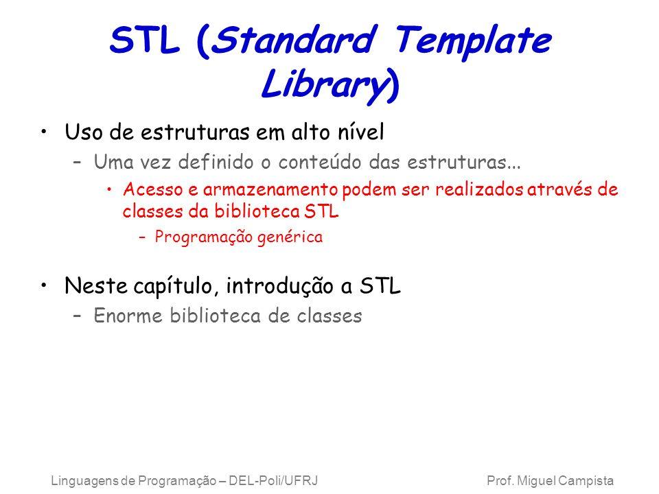 STL (Standard Template Library) Uso de estruturas em alto nível –Uma vez definido o conteúdo das estruturas...