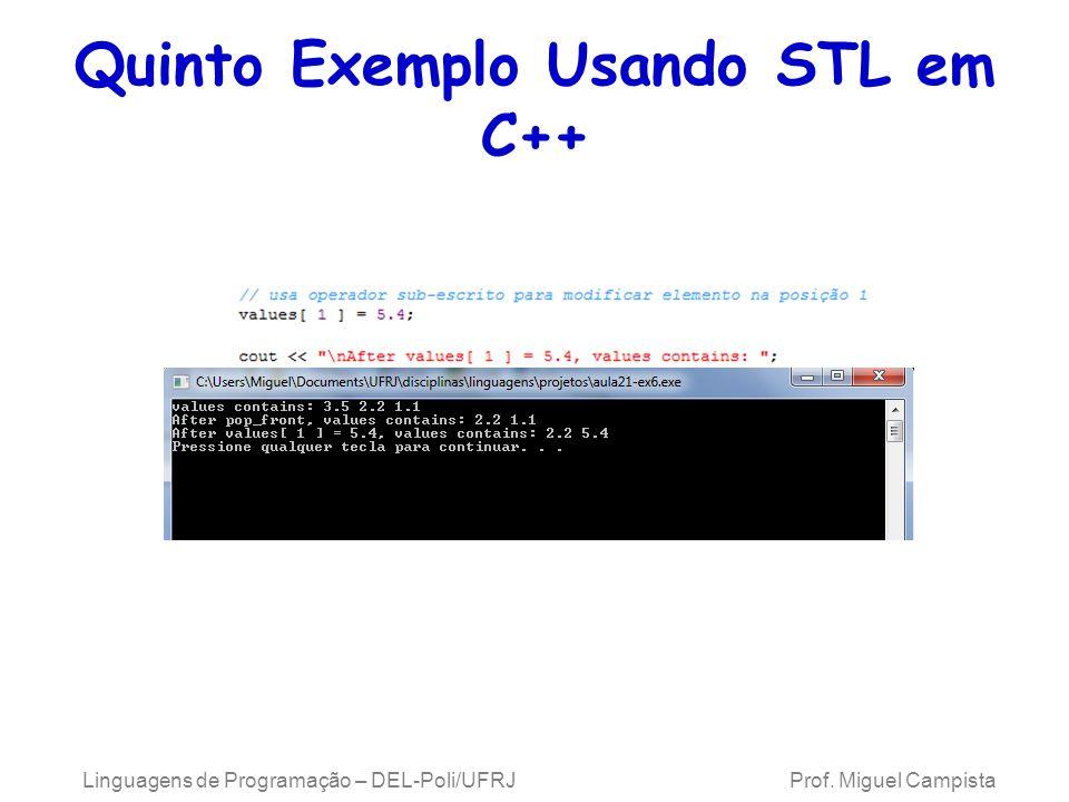 Quinto Exemplo Usando STL em C++ Linguagens de Programação – DEL-Poli/UFRJ Prof. Miguel Campista
