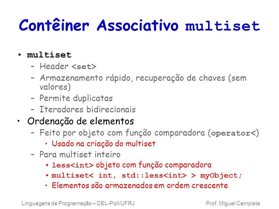 Contêiner Associativo multiset multiset –Header –Armazenamento rápido, recuperação de chaves (sem valores) –Permite duplicatas –Iteradores bidirecionais Ordenação de elementos –Feito por objeto com função comparadora ( operator< ) Usado na criação do multiset –Para multiset inteiro less objeto com função comparadora multiset > myObject; Elementos são armazenados em ordem crescente Linguagens de Programação – DEL-Poli/UFRJ Prof.