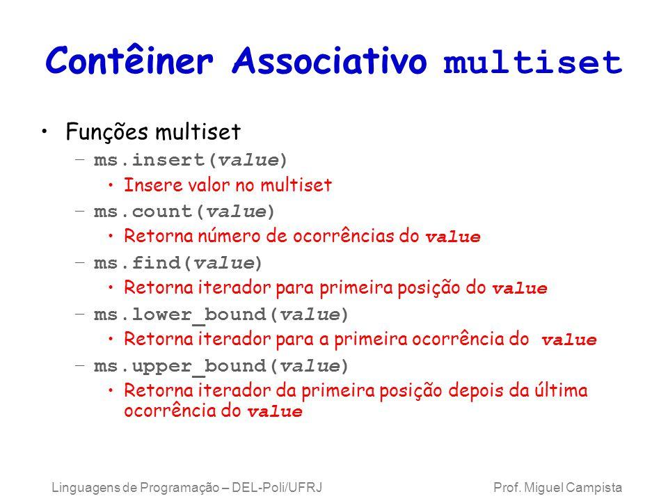 Contêiner Associativo multiset Funções multiset –ms.insert(value) Insere valor no multiset –ms.count(value) Retorna número de ocorrências do value –ms.find(value) Retorna iterador para primeira posição do value –ms.lower_bound(value) Retorna iterador para a primeira ocorrência do value –ms.upper_bound(value) Retorna iterador da primeira posição depois da última ocorrência do value Linguagens de Programação – DEL-Poli/UFRJ Prof.