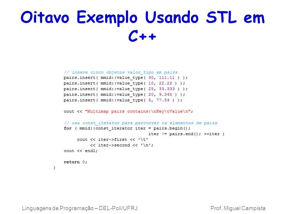 Oitavo Exemplo Usando STL em C++ Linguagens de Programação – DEL-Poli/UFRJ Prof. Miguel Campista