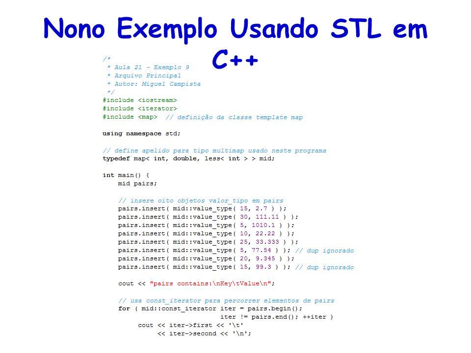 Nono Exemplo Usando STL em C++
