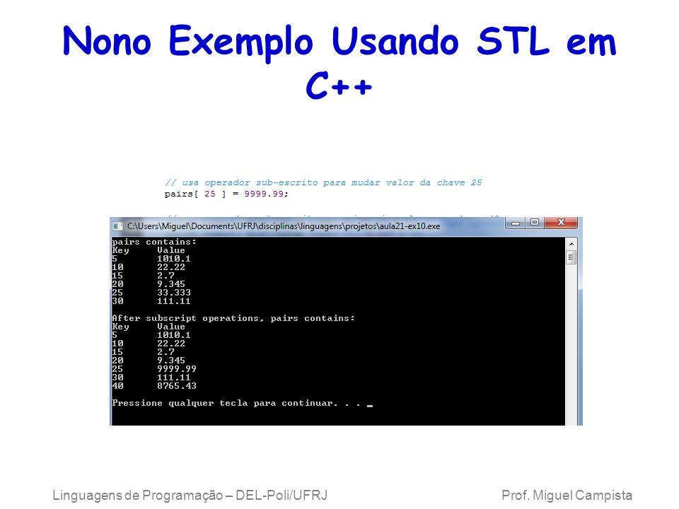 Nono Exemplo Usando STL em C++ Linguagens de Programação – DEL-Poli/UFRJ Prof. Miguel Campista