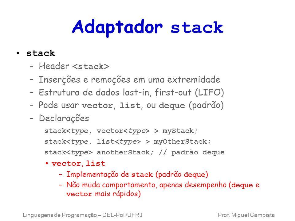 Adaptador stack stack –Header –Inserções e remoções em uma extremidade –Estrutura de dados last-in, first-out (LIFO) –Pode usar vector, list, ou deque (padrão) –Declarações stack > myStack; stack > myOtherStack; stack anotherStack; // padrão deque vector, list –Implementação de stack (padrão deque ) –Não muda comportamento, apenas desempenho ( deque e vector mais rápidos) Linguagens de Programação – DEL-Poli/UFRJ Prof.