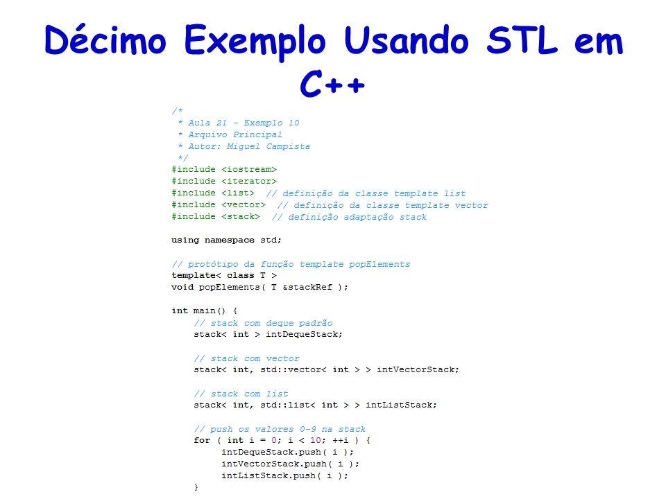 Décimo Exemplo Usando STL em C++
