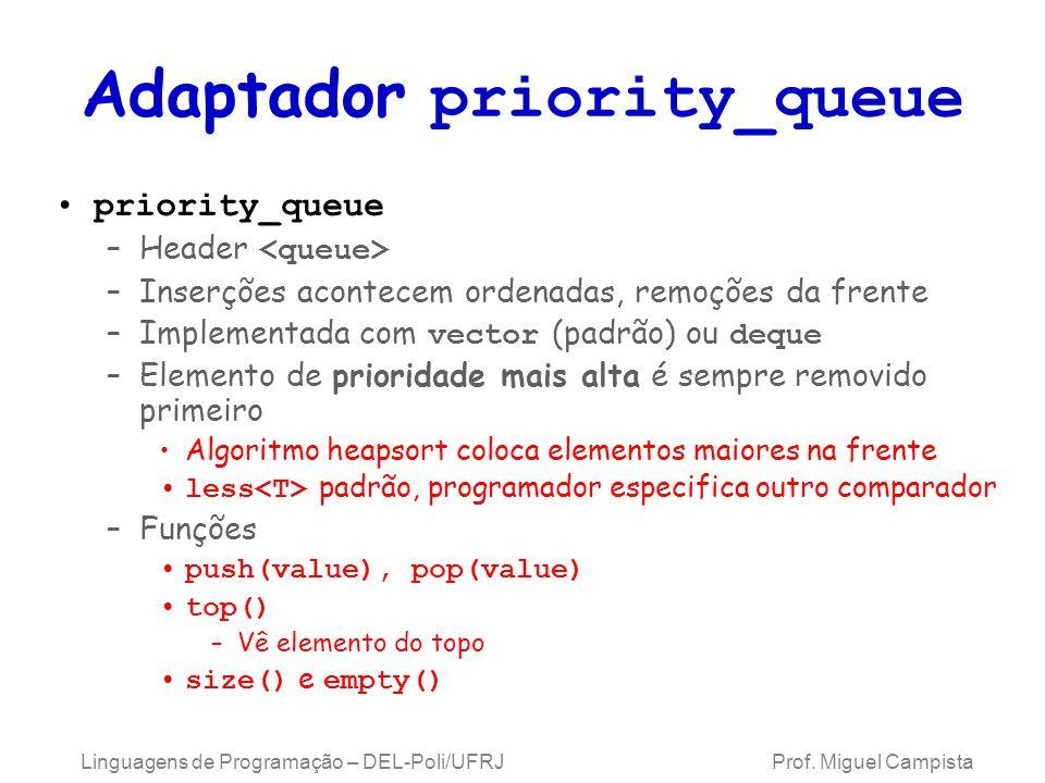 Adaptador priority_queue priority_queue –Header –Inserções acontecem ordenadas, remoções da frente –Implementada com vector (padrão) ou deque –Elemento de prioridade mais alta é sempre removido primeiro Algoritmo heapsort coloca elementos maiores na frente less padrão, programador especifica outro comparador –Funções push(value), pop(value) top() –Vê elemento do topo size() e empty() Linguagens de Programação – DEL-Poli/UFRJ Prof.