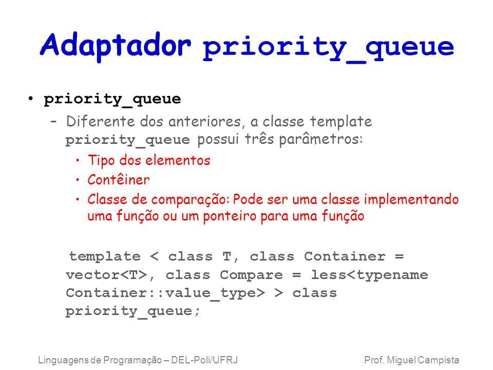 Adaptador priority_queue priority_queue –Diferente dos anteriores, a classe template priority_queue possui três parâmetros: Tipo dos elementos Contêiner Classe de comparação: Pode ser uma classe implementando uma função ou um ponteiro para uma função template, class Compare = less > class priority_queue; Linguagens de Programação – DEL-Poli/UFRJ Prof.