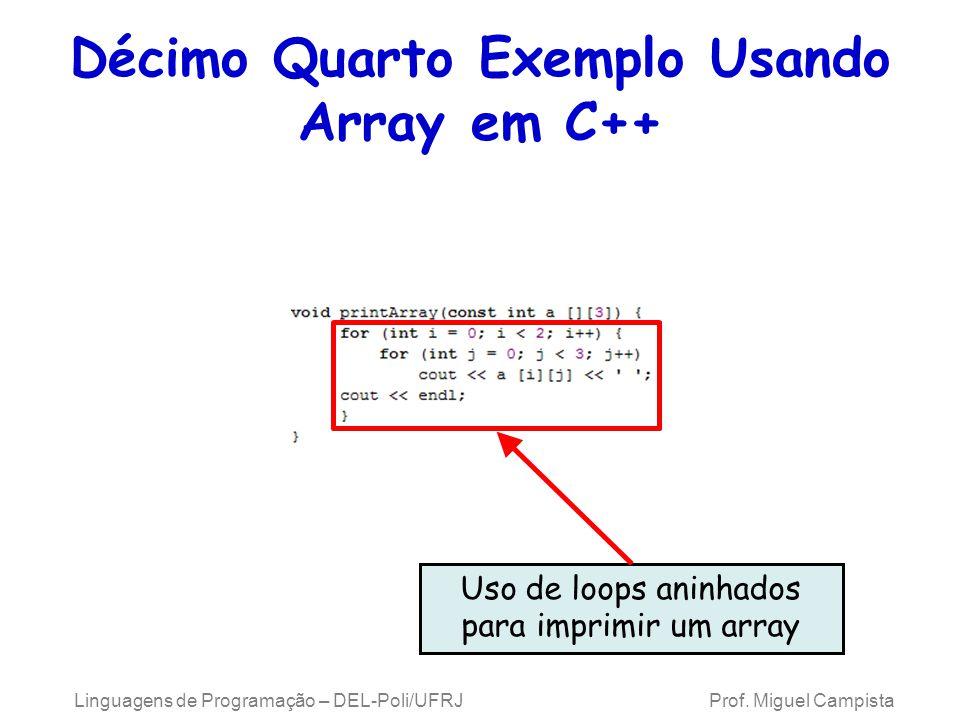 Décimo Quarto Exemplo Usando Array em C++ Uso de loops aninhados para imprimir um array Linguagens de Programação – DEL-Poli/UFRJ Prof. Miguel Campist