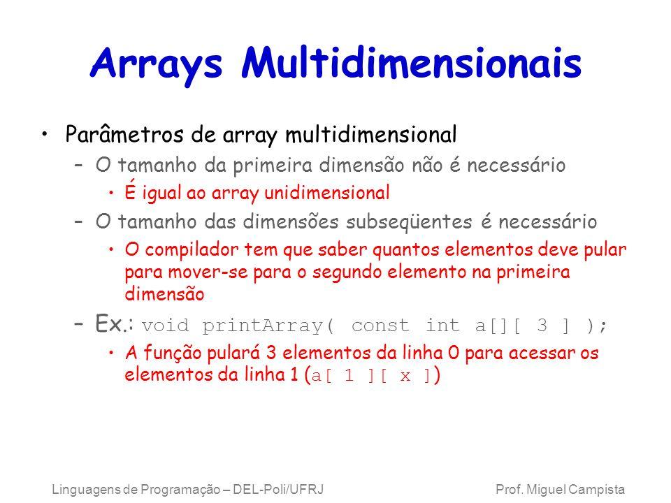 Arrays Multidimensionais Parâmetros de array multidimensional –O tamanho da primeira dimensão não é necessário É igual ao array unidimensional –O tama