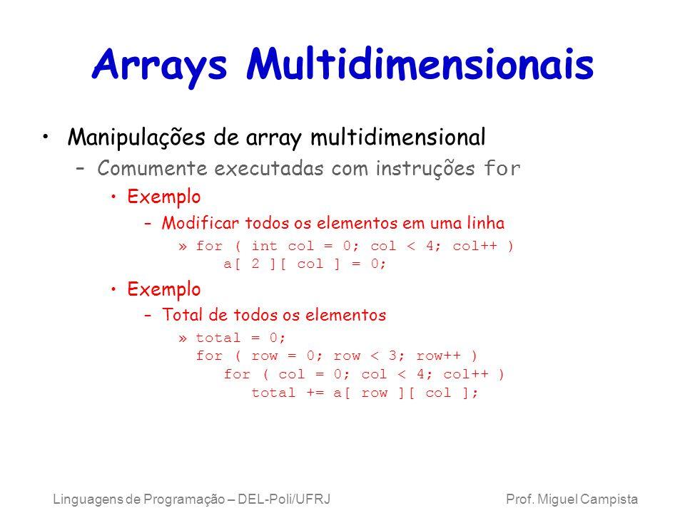 Arrays Multidimensionais Manipulações de array multidimensional –Comumente executadas com instruções for Exemplo –Modificar todos os elementos em uma