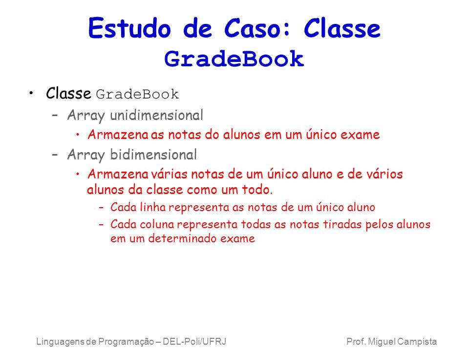 Estudo de Caso: Classe GradeBook Classe GradeBook –Array unidimensional Armazena as notas do alunos em um único exame –Array bidimensional Armazena vá