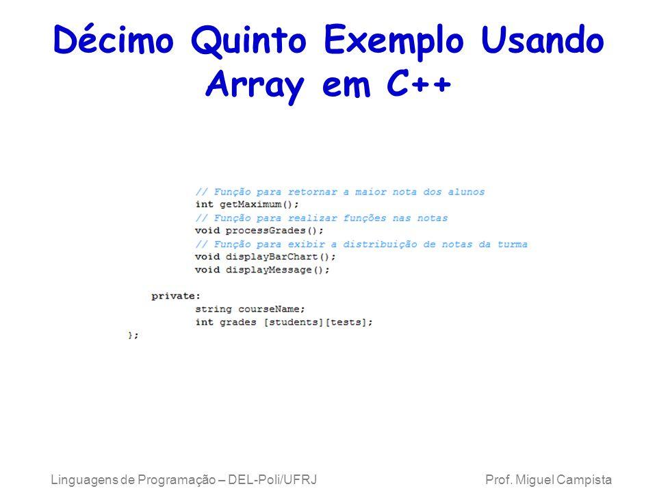 Décimo Quinto Exemplo Usando Array em C++ Linguagens de Programação – DEL-Poli/UFRJ Prof. Miguel Campista