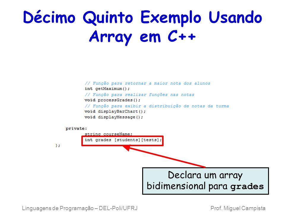 Décimo Quinto Exemplo Usando Array em C++ Declara um array bidimensional para grades Linguagens de Programação – DEL-Poli/UFRJ Prof. Miguel Campista
