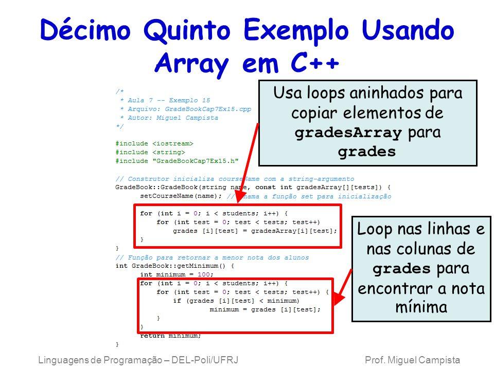 Décimo Quinto Exemplo Usando Array em C++ Usa loops aninhados para copiar elementos de gradesArray para grades Loop nas linhas e nas colunas de grades