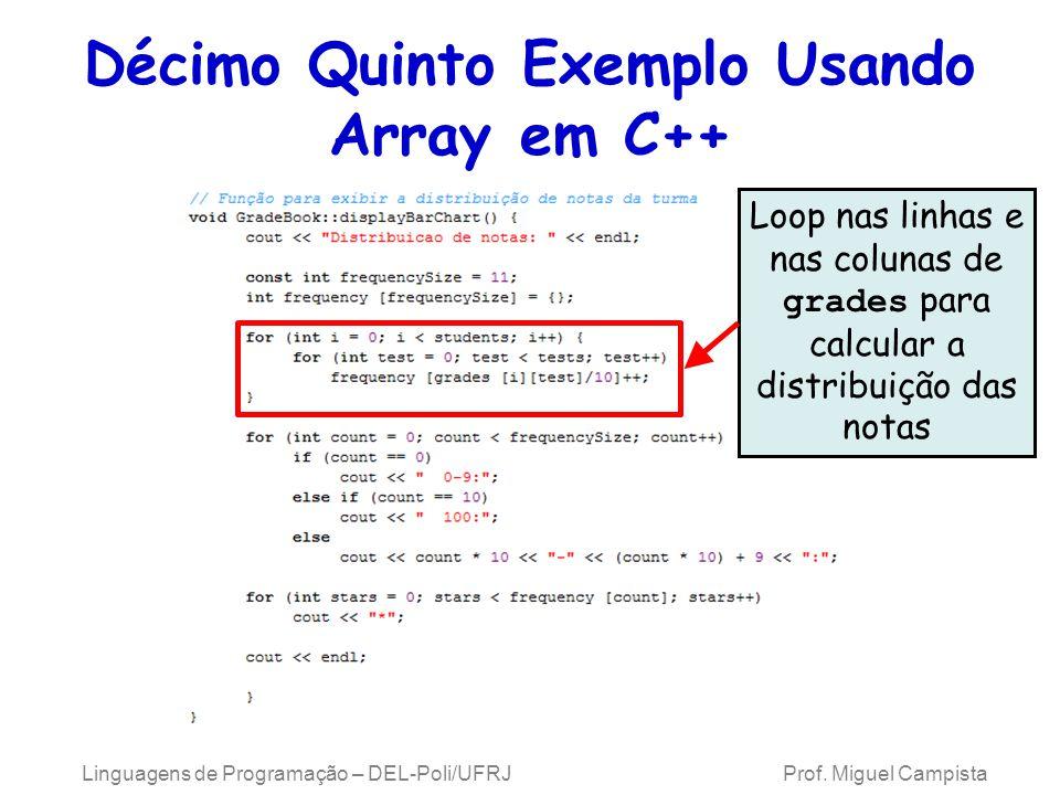 Décimo Quinto Exemplo Usando Array em C++ Loop nas linhas e nas colunas de grades para calcular a distribuição das notas Linguagens de Programação – D
