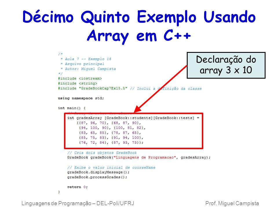 Décimo Quinto Exemplo Usando Array em C++ Declaração do array 3 x 10 Linguagens de Programação – DEL-Poli/UFRJ Prof. Miguel Campista