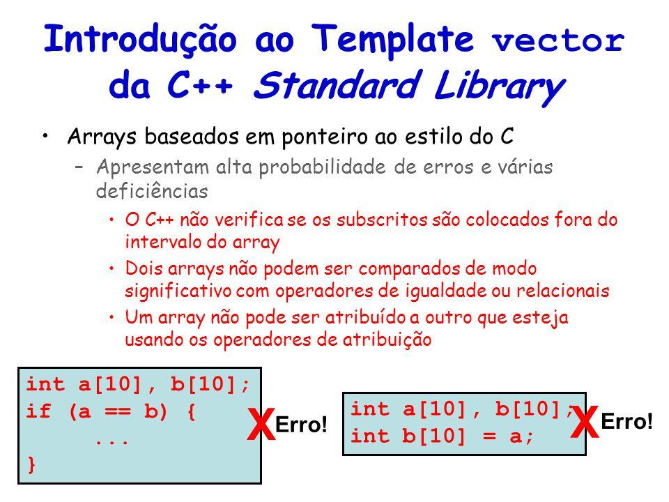 Introdução ao Template vector da C++ Standard Library Arrays baseados em ponteiro ao estilo do C –Apresentam alta probabilidade de erros e várias defi