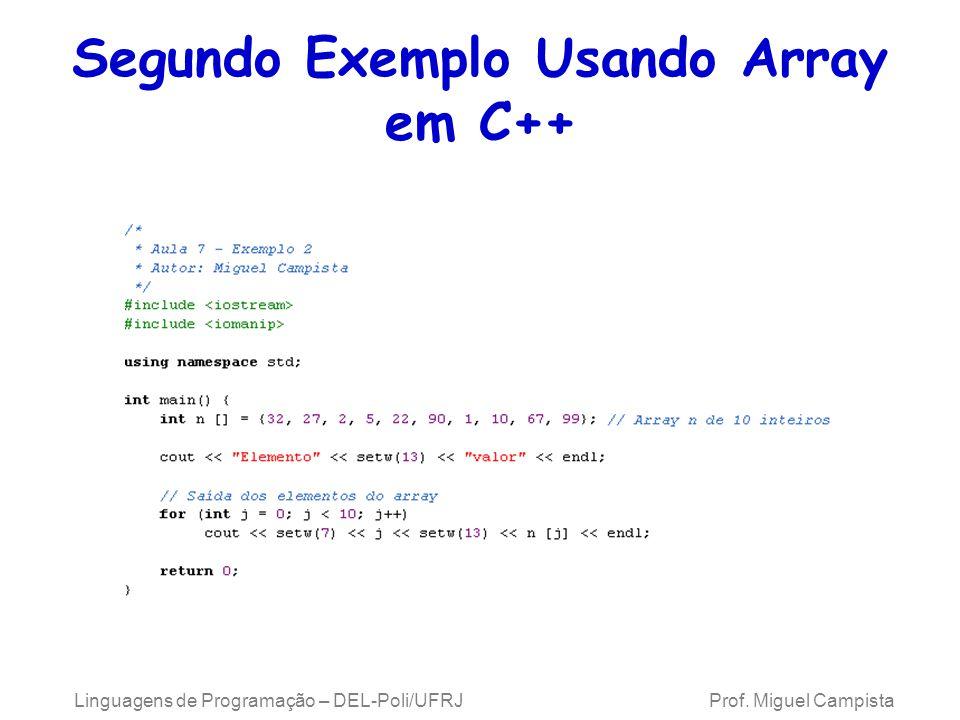 Segundo Exemplo Usando Array em C++ Linguagens de Programação – DEL-Poli/UFRJ Prof. Miguel Campista