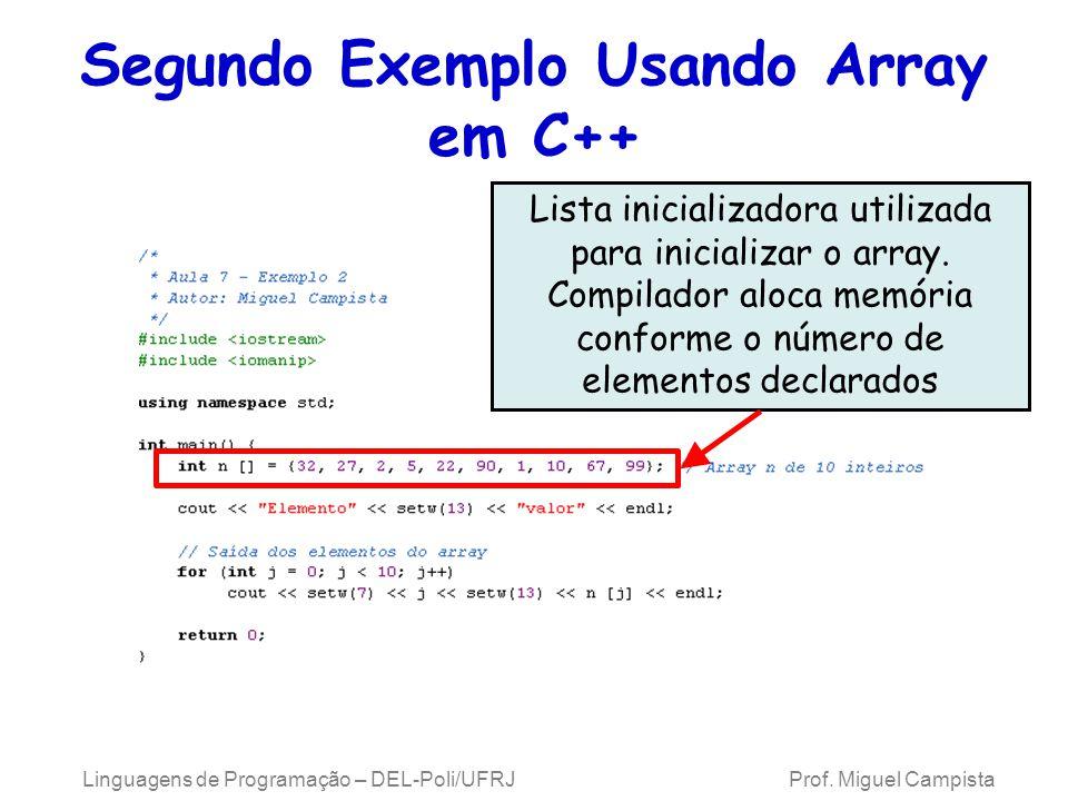 Segundo Exemplo Usando Array em C++ Linguagens de Programação – DEL-Poli/UFRJ Prof. Miguel Campista Lista inicializadora utilizada para inicializar o