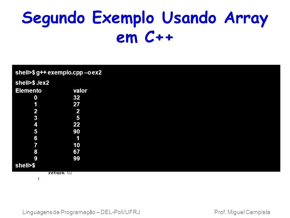Segundo Exemplo Usando Array em C++ Linguagens de Programação – DEL-Poli/UFRJ Prof. Miguel Campista shell>$ g++ exemplo.cpp –o ex2 shell>$./ex2 Elemen