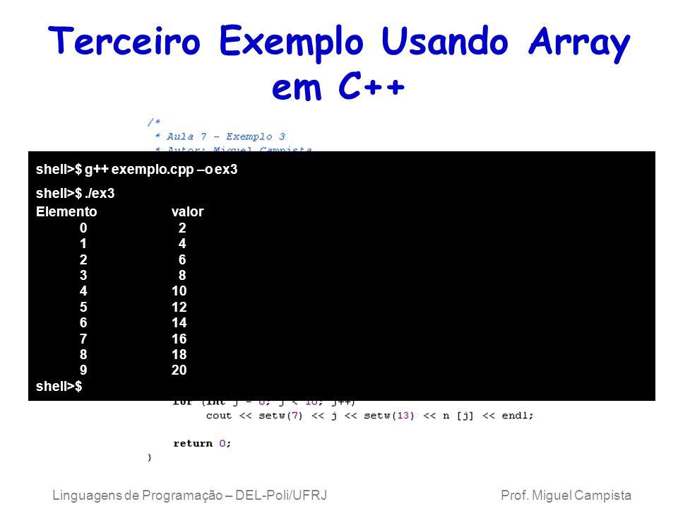 Terceiro Exemplo Usando Array em C++ Linguagens de Programação – DEL-Poli/UFRJ Prof. Miguel Campista shell>$ g++ exemplo.cpp –o ex3 shell>$./ex3 Eleme