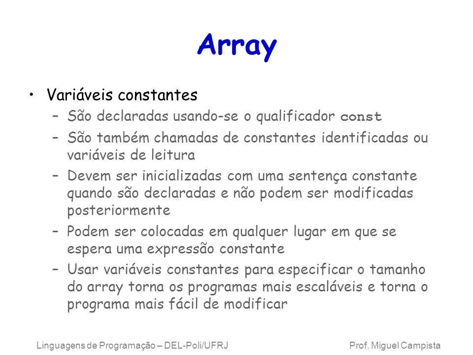 Array Variáveis constantes –São declaradas usando-se o qualificador const –São também chamadas de constantes identificadas ou variáveis de leitura –De